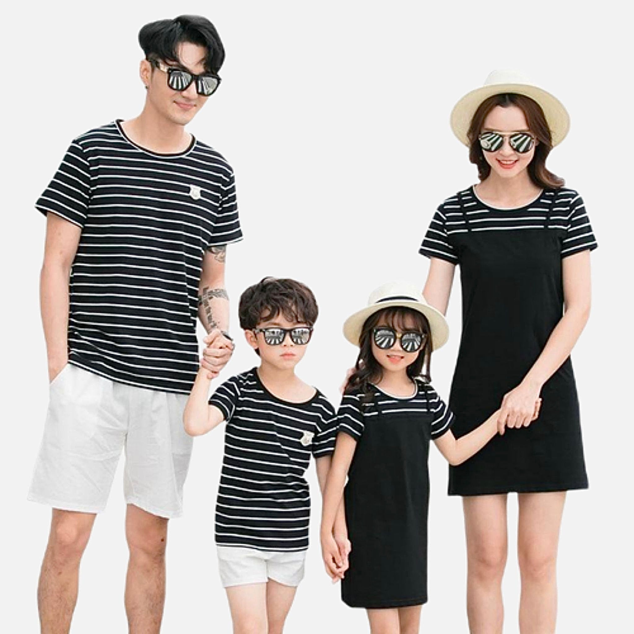 Family Match Sets   Mom girls midi dress black striped T-Shirt dad boys shorts Family matching outfits