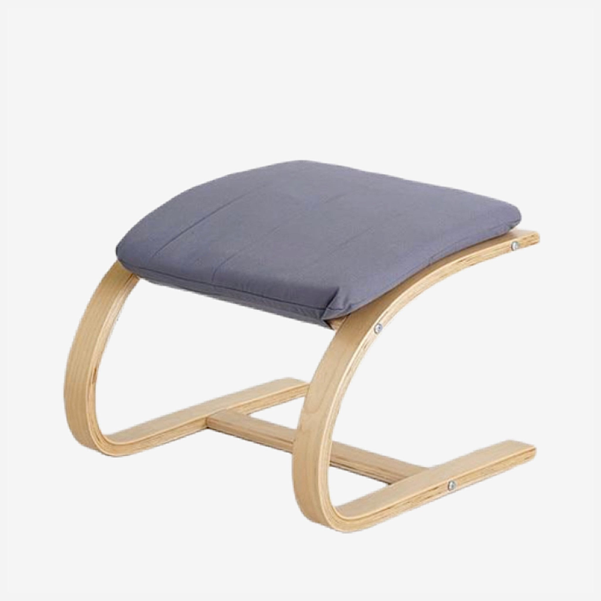 Contemporary Wooden Footstool Comfortable Dusty Blue Fabric Cushion Ottoman Chair Small Plywood Wood Footrest Stools Furniture