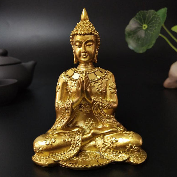 Golden Thai Buddha Statue Home Garden Decoration Meditation Buddha Sculpture Figurine Thailand Ornament Crafts Trend