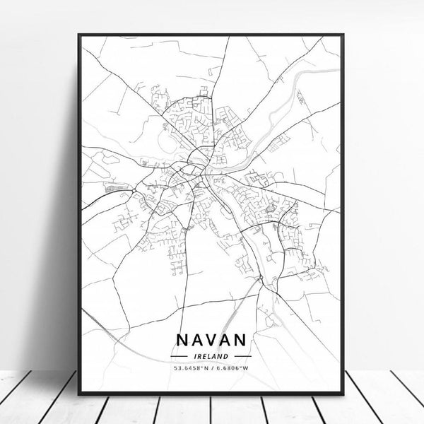 Navan Ireland Canvas Art Map Poster Irish Wall Art Home Decor Trend