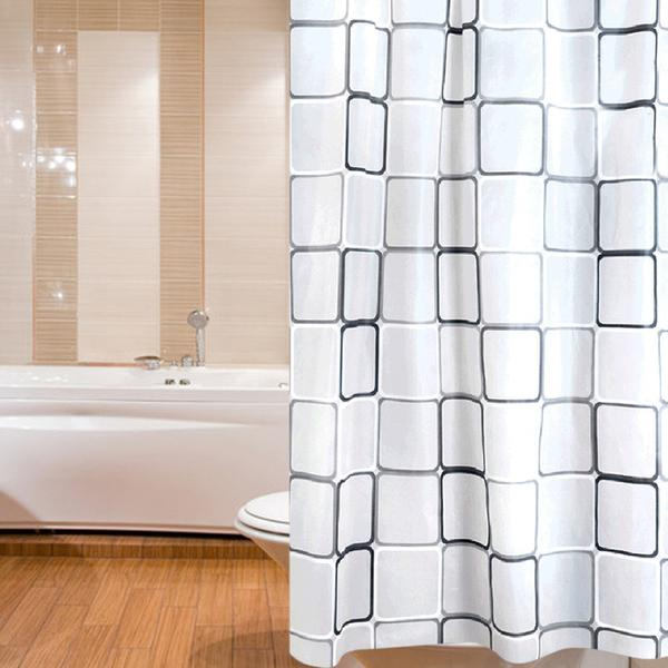 Bath Shower Curtain White With Rings - 未定義 miTeigi