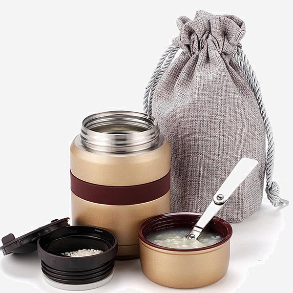 Bento Lunch Box 350ml with Bag  Gold color Stainless steel thermos container mini thermo mug Vacuum Flasks Trend