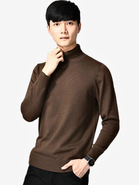 Merino Turtleneck Sweater   Casual Long Sleeve Warm Thick Dark Brown Knitted High Collar Men's Knitwear Pullover Sweaters Trend