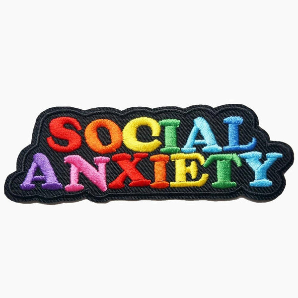 Rainbow SOCIAL ANXIETY Letters Embroidered Patches Sew Iron On Badges For Dress Bag Jeans Hat T Shirt DIY Appliques Craft Decor Trend