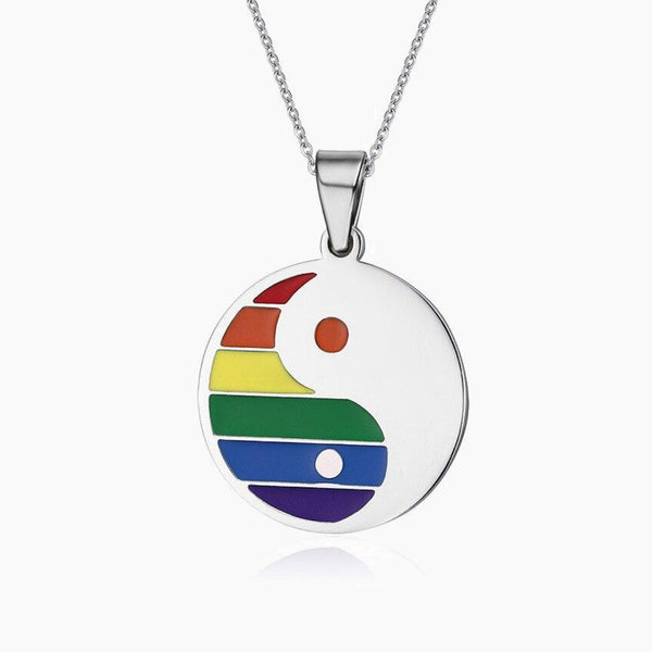 Ethnic Tai Chi Chain Necklace Jewelry Semi Rainbow Titanium Steel LGBT Jewelry Round Ying Yang Dog Tag Pendents Necklaces Trend