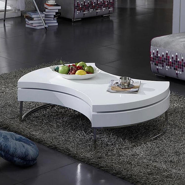 Modern Rotating Coffee Table   Creative fan-shaped storage round sofa center tables home furniture Trend