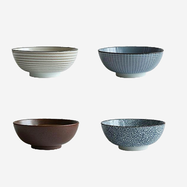 Japanese Ceramic Glaze Noodle Bowl Kitchen Serveware Serving Bowls and Baskets Trend