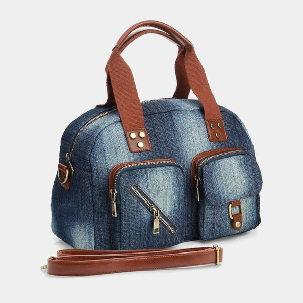 Stylish Women Roomy and Durable Denim Jeans Handbags Woman Casual Denim-wash Blue Shoulder Bags Trend