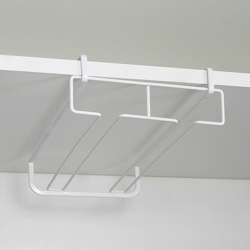 Practical 2 Row Under Cabinet Double Glass Stemware Rack Storage Organizer Design B