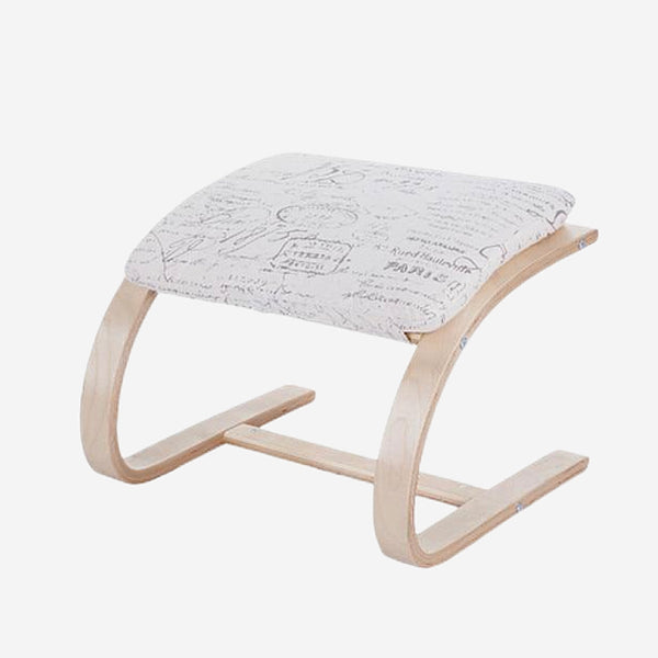 Contemporary Wooden Footstool Comfortable White Fabric Cushion Ottoman Chair Small Plywood Wood Footrest Stools Furniture Trend