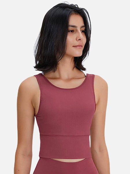 miFit Stretch Rib Tank Top     Reversible solid deep crimson red color ribbed stretch Yoga Fitness Training Crop Tops Women's Stretchy Sports Workout Athletic Vest Tank Tops Sportswear Trend