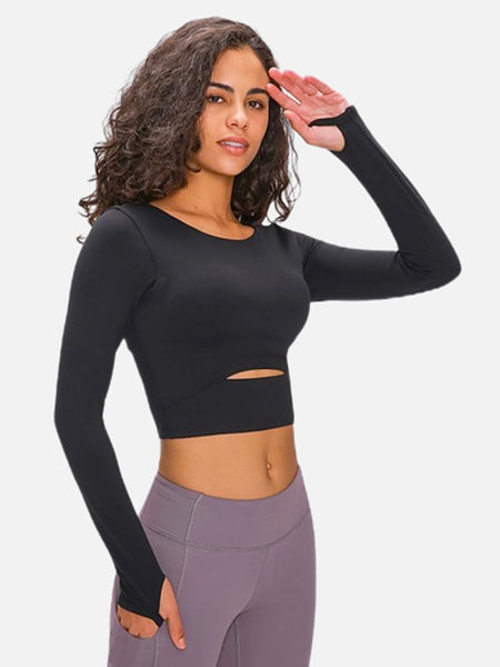 miFit Padded Sports T-Shirt     Ardor padded long sleeve thick black color nylon with thumb holes Gym Yoga Fitness Women's Crop Sport Shirts Sportswear Trend
