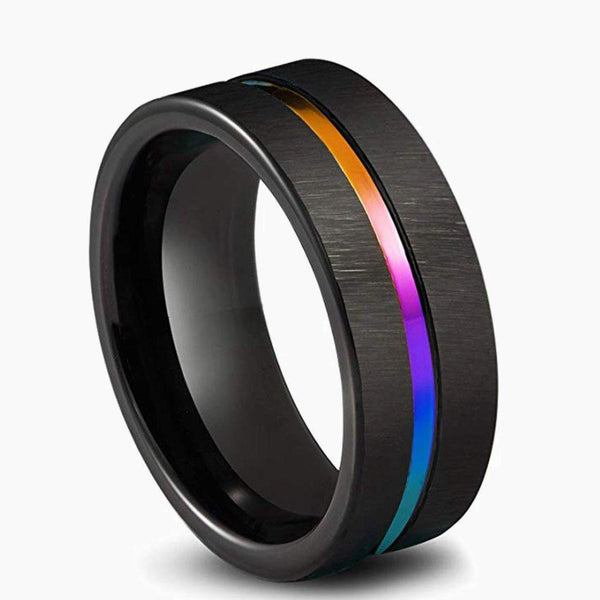 Mens Black Stainless Steel Rainbow Wedding Band Ring Jewelry 8mm Colorful Rainbow Rings Size 6-13 Fashion Jewellery Trend