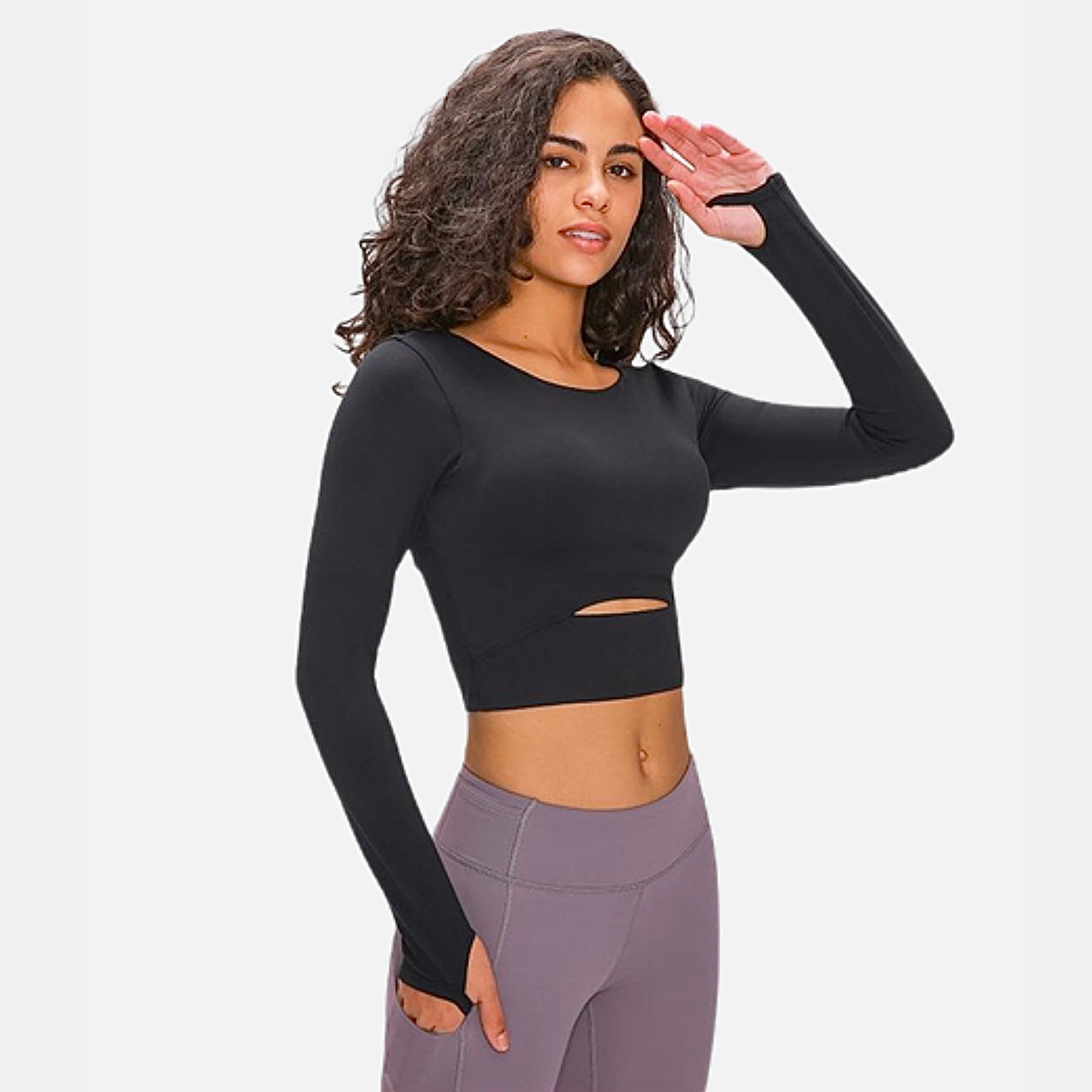 miFit Padded Sports T-Shirt     Ardor padded long sleeve thick black color nylon with thumb holes Gym Yoga Fitness Women's Crop Sport Shirts Sportswear