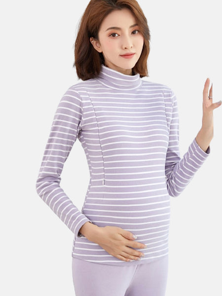 Turtleneck Maternity Nursing Top        High neck bottoming long-sleeved purple stripe thick maternity tops T-shirts clothes Trend