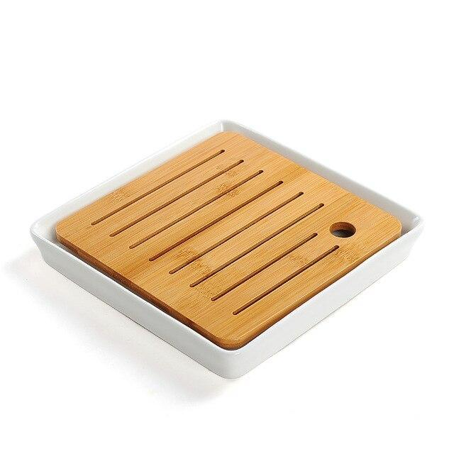 Trend Bamboo ceramic tea tray Japanese tea ceremony kung fu tea set trays round heavy bamboo tray water storage Japan home leisure tea trays