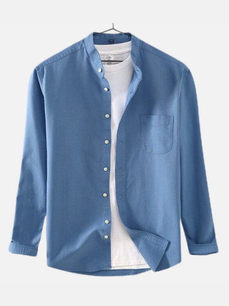 Mandarin Collar Shirt        Blue cotton long-sleeve loose retro pocket stand or turn-down collar Mens shirts Trend