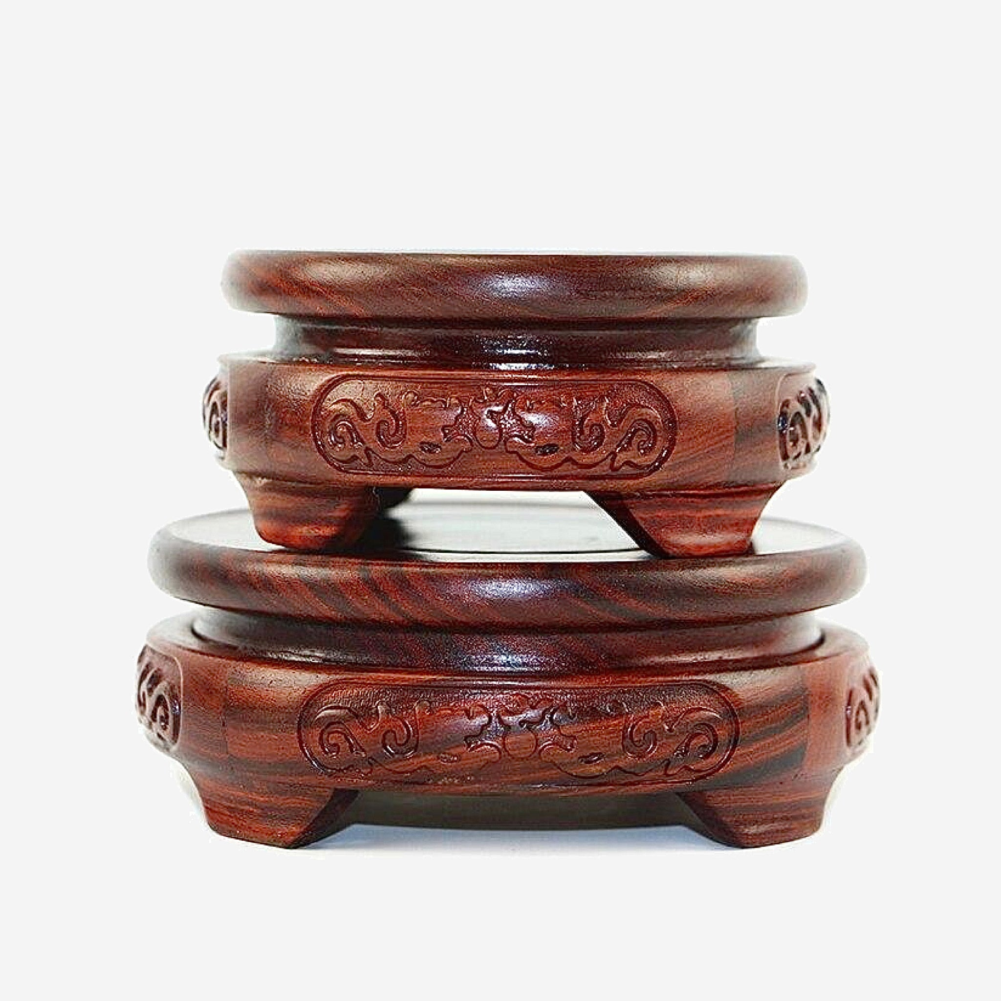 Red Sandalwood Statue Base   6.5-11.5cm Diameter Double Carved Dragon Stone Vase Buddha Incense Flowerpot Wood Carving Teapot Bases Trending Style
