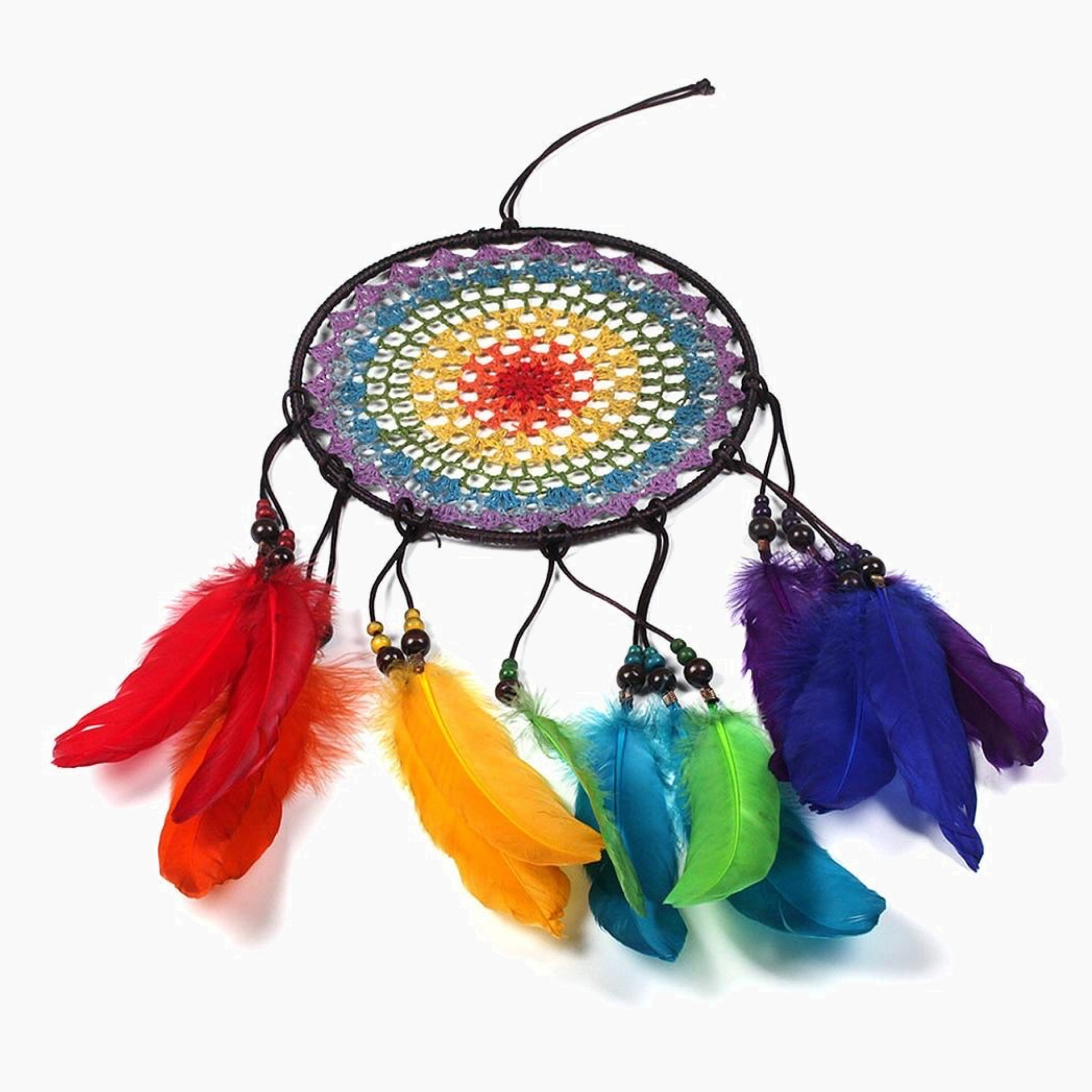 Handmade 7 Rainbow Color Feather Dreamcatcher Wind Chimes Owl Dream Catchers For Gifts DIY Wedding Home Decor Ornaments Trend