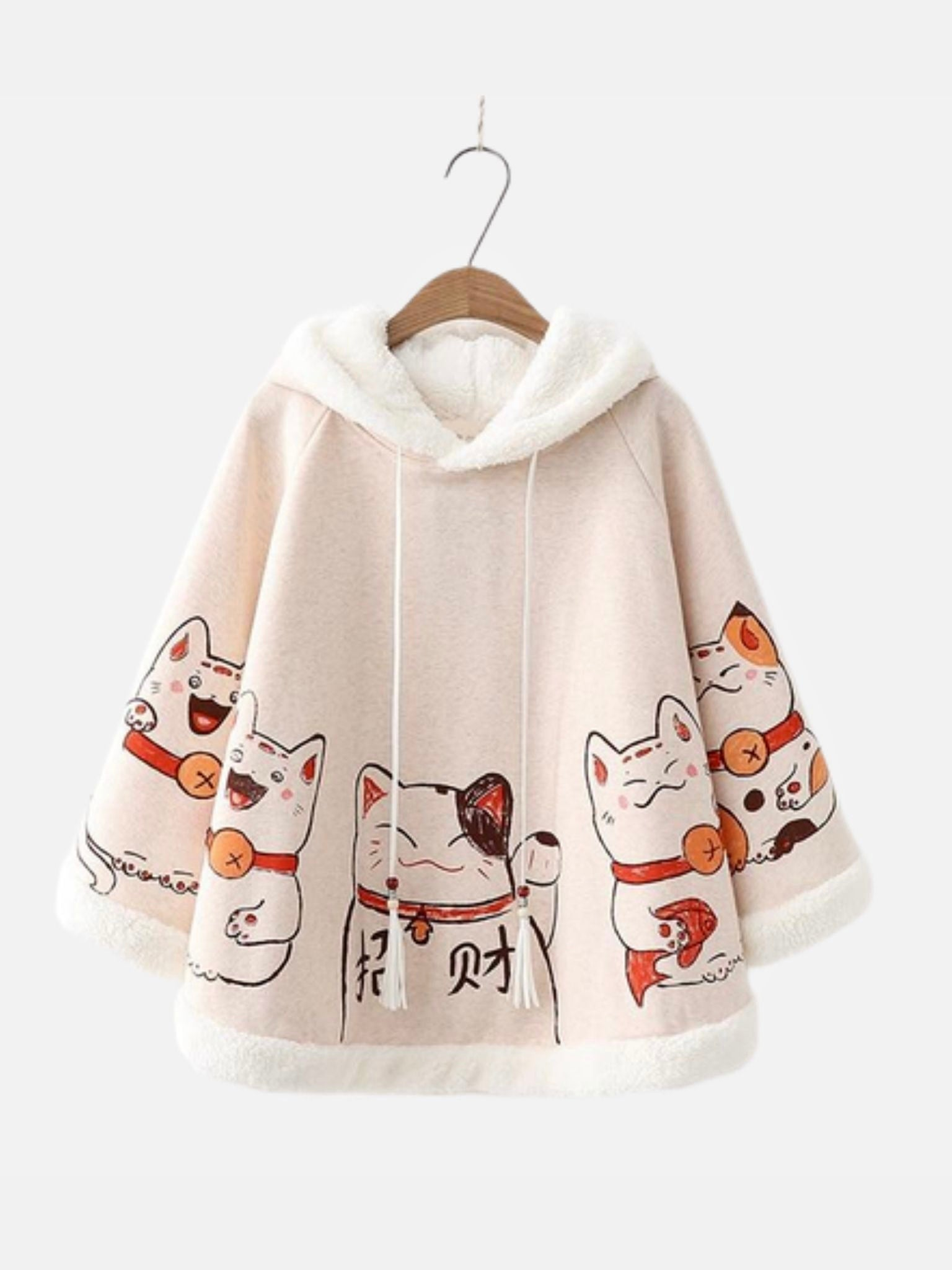 Batwing Fleece Hooded Poncho   Kawaii Ears Japanese Lucky Cat Loose Sleeve Beige Pullover Cape Top Harajuku Hooded Cloak Outwear Trend