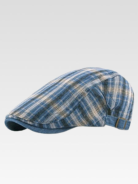 Gatsby Newsboy Cap    British style flat cap for men and women Vintage plaid checkered beret hat driver cabbie hats Trending color Blue