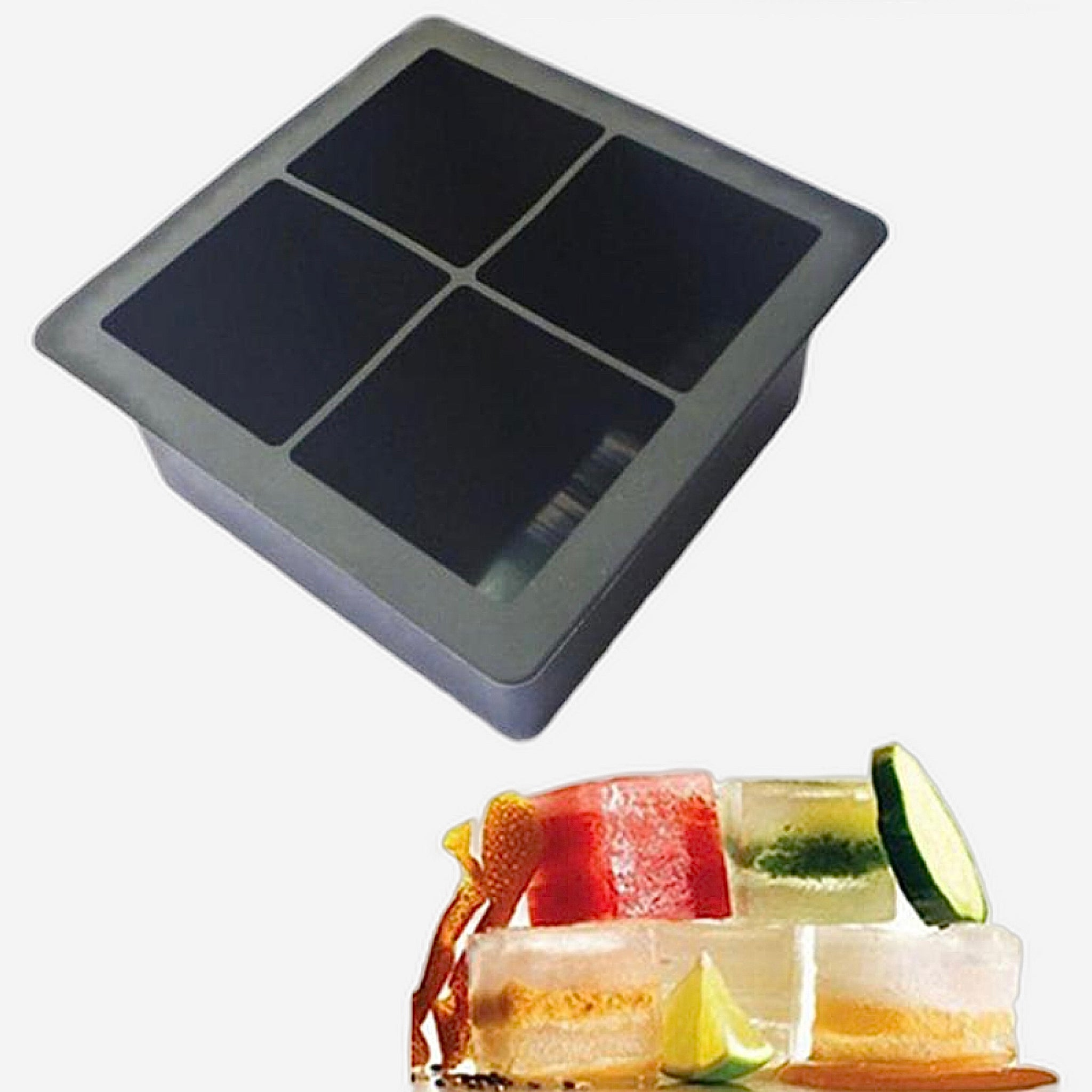 Extra Large Ice Cube Tray 4-Cell  Big Size Black Silicone Square Mould Tubs Trays Style Trend