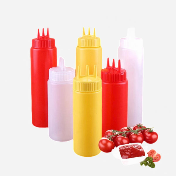 Three Hole Squeeze Bottle Condiment Dispenser Set Trend
