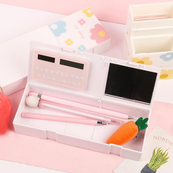 1 Piece stationery box with calculator and mirror 4 in 1 Multi-function Large capacity pencil box penholder Kawaii Study School supplies Trend