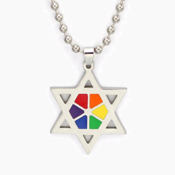 Rainbow Pentagram Stars Necklace Jewelry 50cm Long LGBTQ Gay Pride Pendant Jewellery Trend