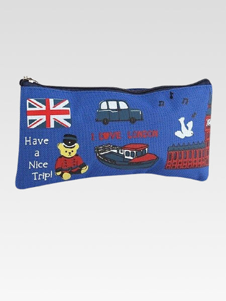 London Canvas Bag     Canvas pen pencil blue waterproof cosmetics makeup zipper bags school supplies stationery storage organizer case Trend