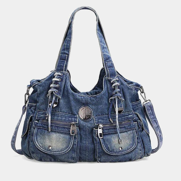 Womens Elegant Rhinestone Dark Blue Denim Shoulder Bag Casual Ladies Denim Jeans Handbags Woman Fashion Trend