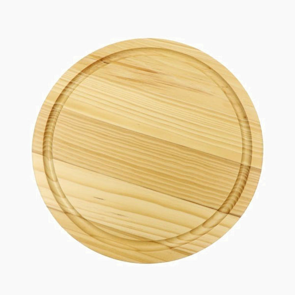 Pine Wood Cutting Board with Juice Groove Solid wooden round chopping block cheese boards Trend