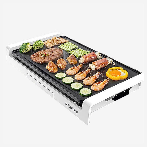 Electric Teppanyaki Grill Plate Household Smokeless Grill Electric Baking  Pan Multi-function White Barbecue Tray Trend