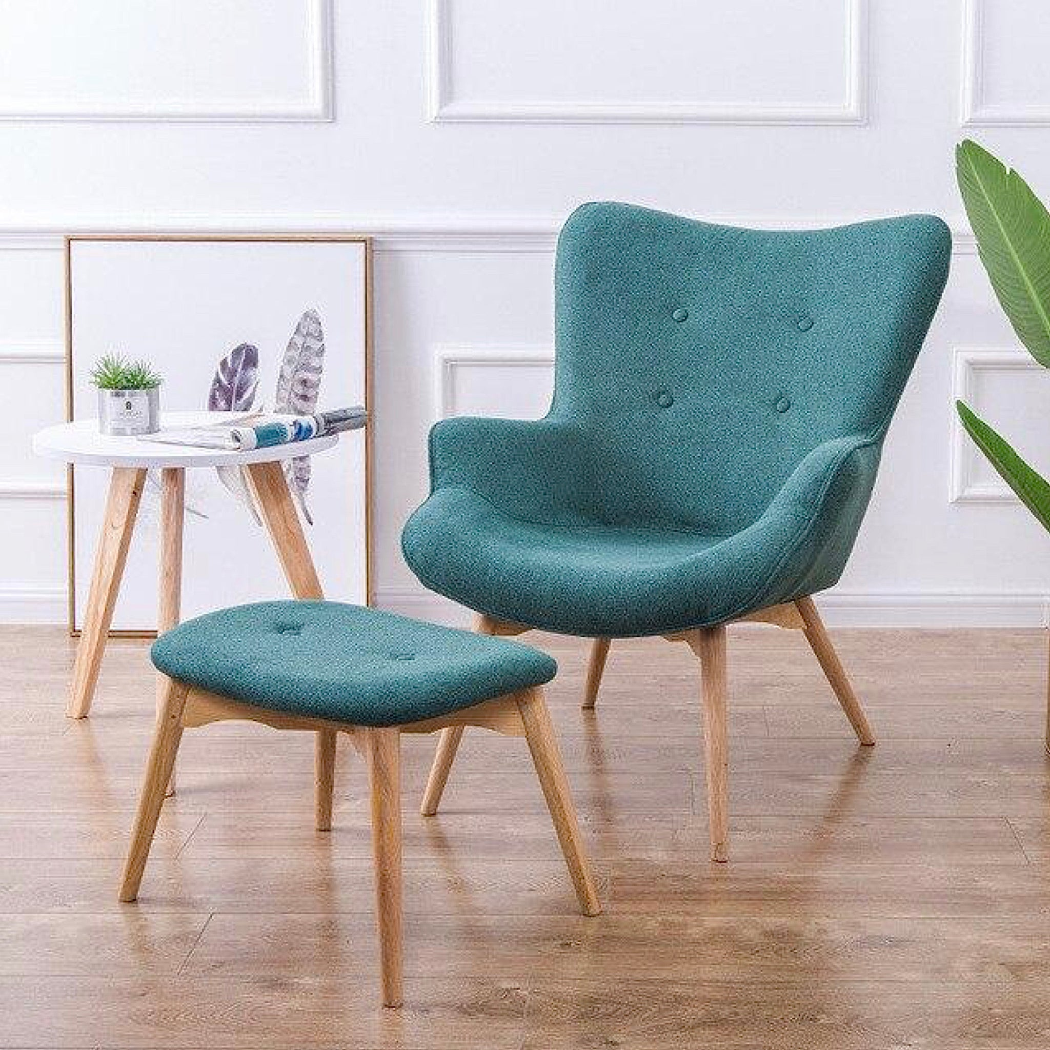 Retro Contour Chair with Foot Stool  Modern Armchair Green Tufted Accent Ottoman for Living Room Bedroom Furniture Trend