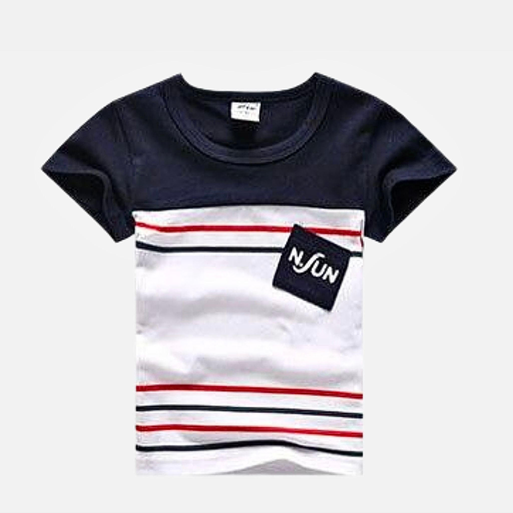 Family Match Outfits   Striped cotton route 96 Navy Blue White T-Shirt Matching clothing