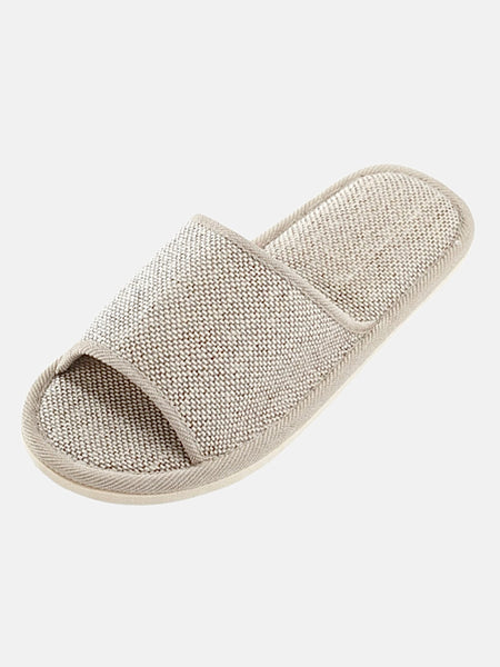 Gingham Hemp Slippers   Natural gray / grey flax silent slippers House wear unisex men women shoes Trend