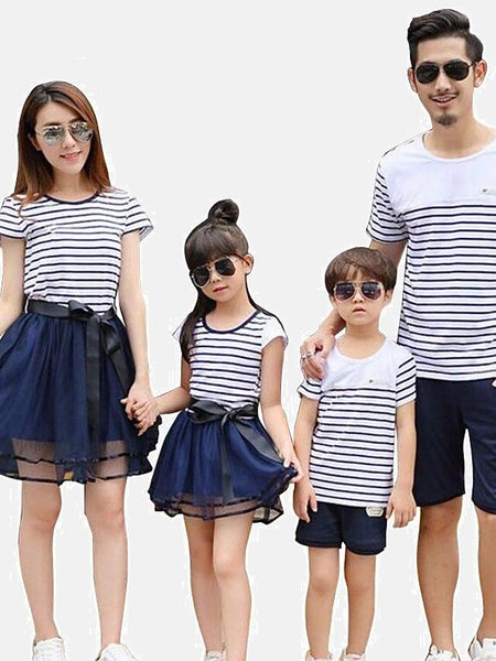Family Match Sets   Striped cotton boatneck T-Shirt mother daughter mom girls toddler mesh midi skirt Father son dad boys toddlers navy blue shorts Matching clothing outfits Trend