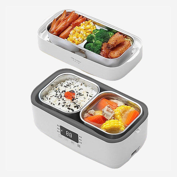 Portable Electric Bento Lunch Box Multifunction Stainless Steel Rice Cooker Food Warmer Double-layer Heated Travel Lunch Boxes Trend