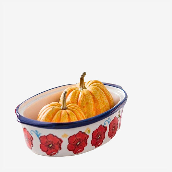 Ceramic Soup Pot With Cover   Red Flower Large Caserolle Baking Dish for Oven Household Tableware Trend