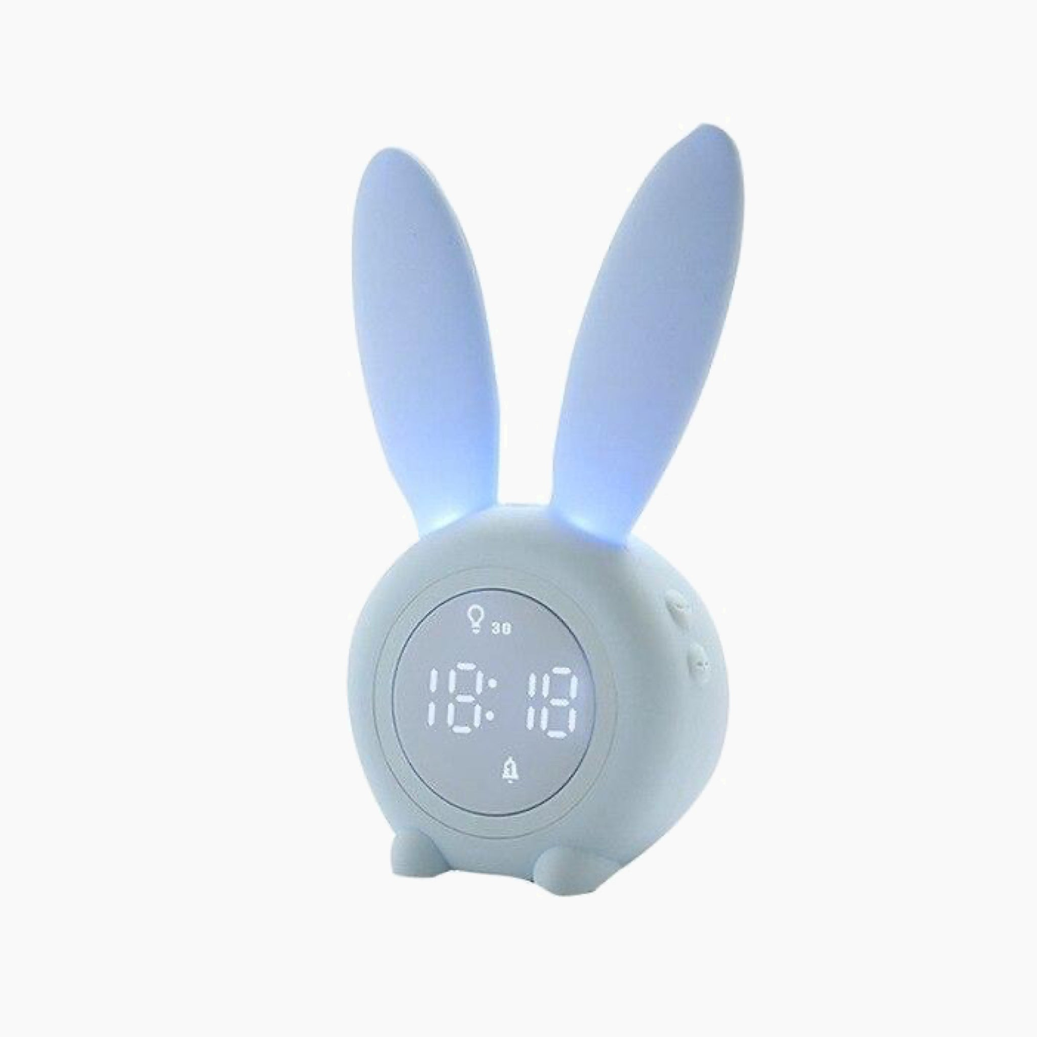 Cute Rabbit Blue Digital Alarm Clock Wake Up Light Table LED Lamp Snooze Clocks Sunrise Sunset Alarm Clock Table Decoration Bedroom Accessories Trend