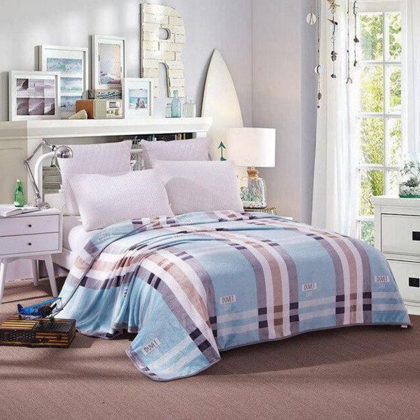 Soft Warm Plaid Blanket Throw Plush Thick Fleece Blankets for Sofa Bed Bedroom Home Decor Furnishing Trend