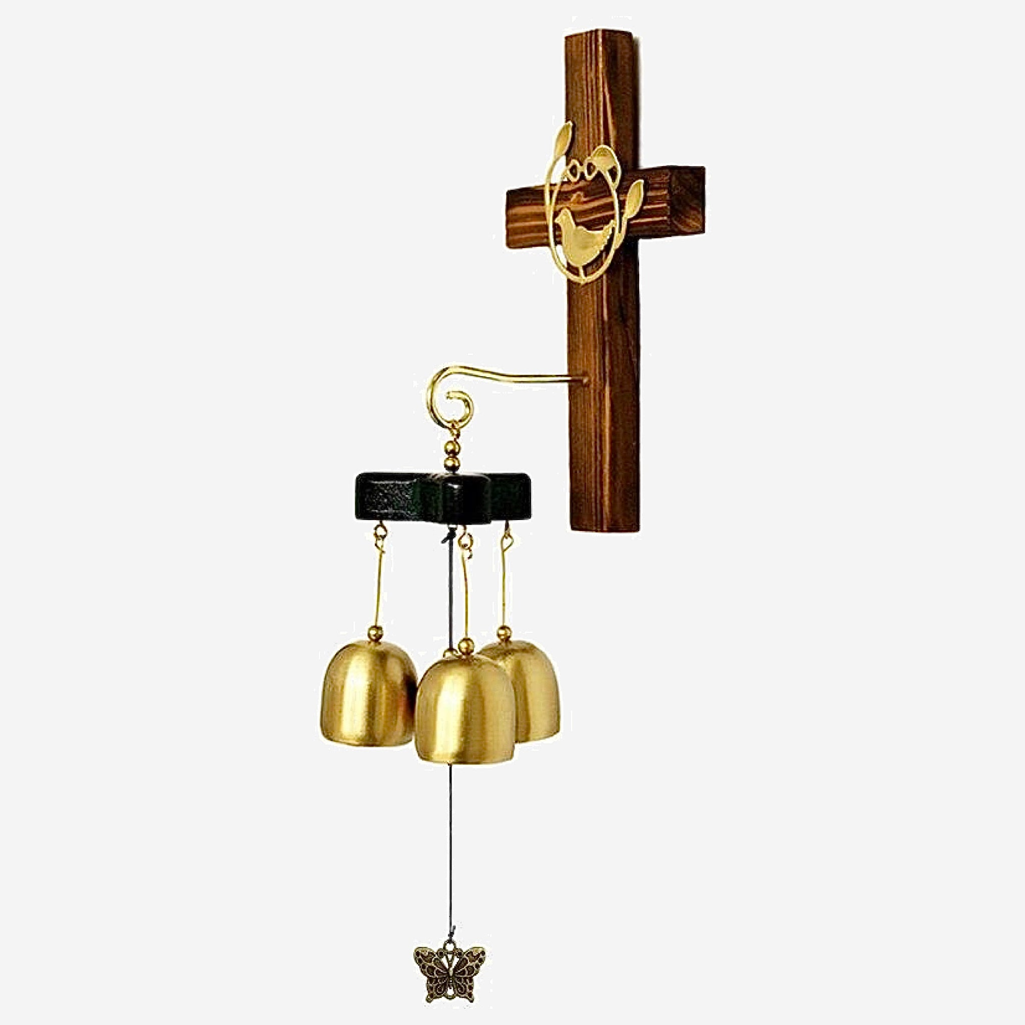 Cross Copper Wind Chime 3-Bell Metal Home And Garden Decoration Hanging Decor Door Ornament Trend