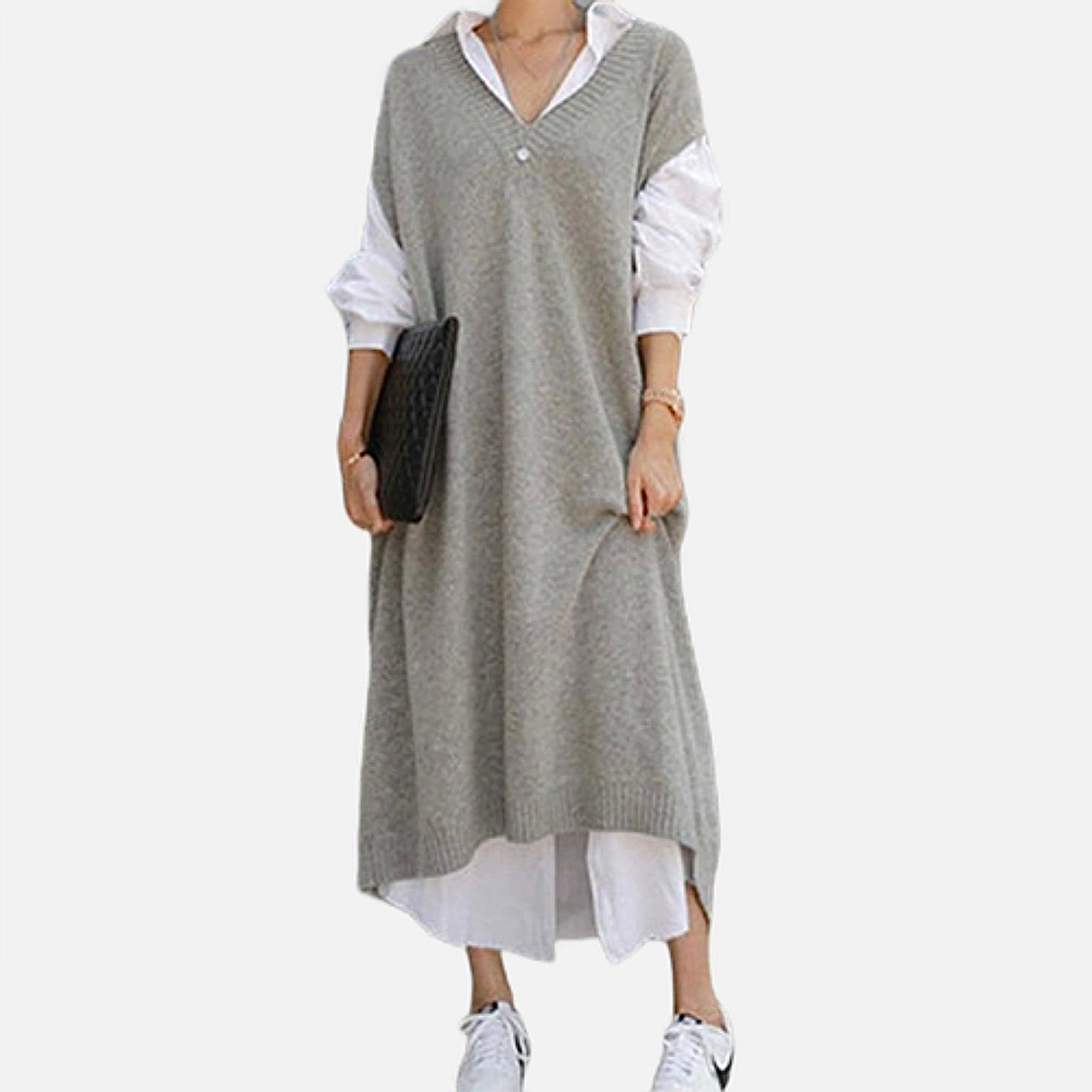 Sleeveless Knit Sweater Dress       Casual oversize straight thick gray / grey knitted long v-neck vest dresses