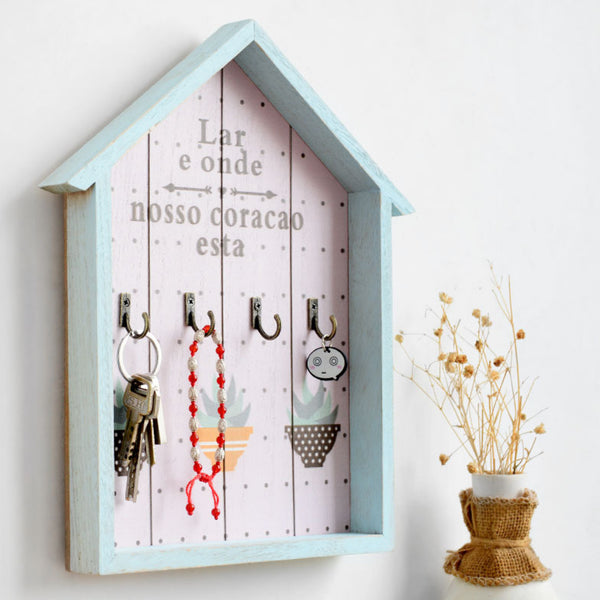 Wooden Blue Cottage Hanging Wall Mounted Key Holder With Hooks Vintage Organizer Wood Decoration Multifunction Letter Rack Storage Foyer Home Decor Accessories Trend
