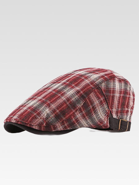 Gatsby Newsboy Cap,    British style flat cap for men and women Vintage plaid checkered beret hat driver cabbie hats Trending color Red