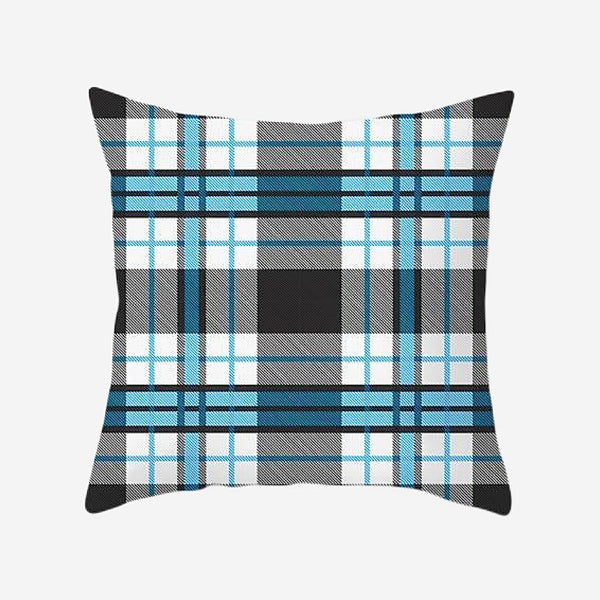 Elegant Geometric Cushion Cover Plaid Blue Black Cotton Polyester Peachskin Pillow Case Checker Covers for Home Sofa Decoration Trend