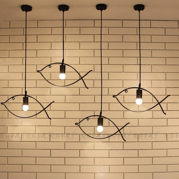 Contemporary Edison Iron Fish Frame Pendant Lamp Cafe Bar Dining Room Couture LED Decorative Ceiling Hanging Lamp Home Decor Lighting View