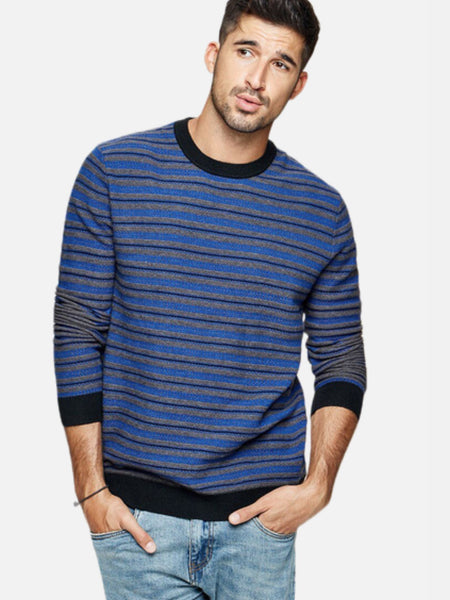 Spliced Crewneck Sweater  Casual Japanese Striped Blue Knitted O-Neck Pullover Men's Sweaters Japan Fashion Trend