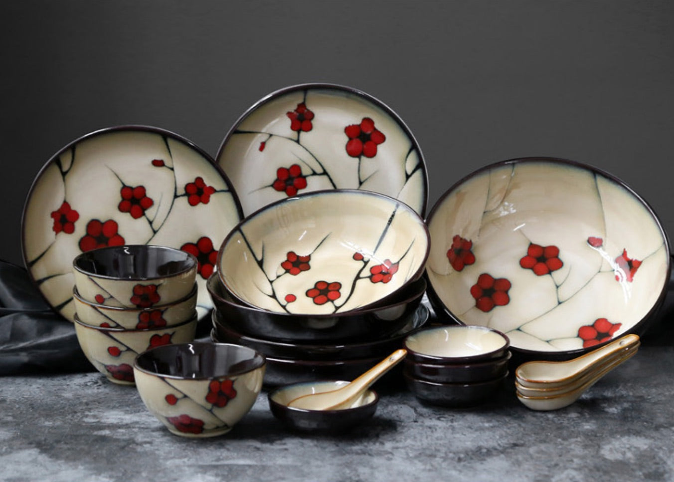 Japanese Red Plum Porcelain Bowls and Dishes Tableware Japan On-Glaze Ceramic Dinnerware Dinner Sets JPN Style L