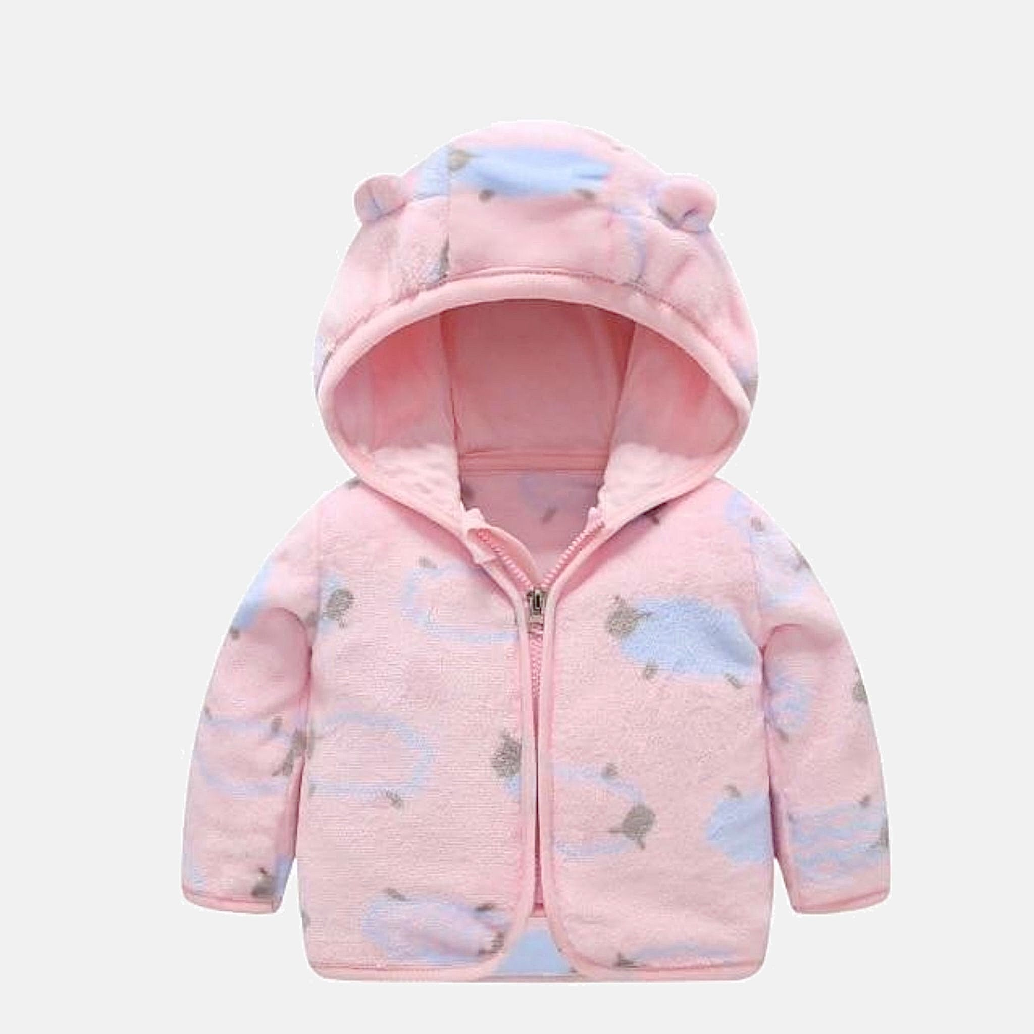 Baby Flannel Hooded Jacket   Thick warm pink sheep jackets newborn clothing